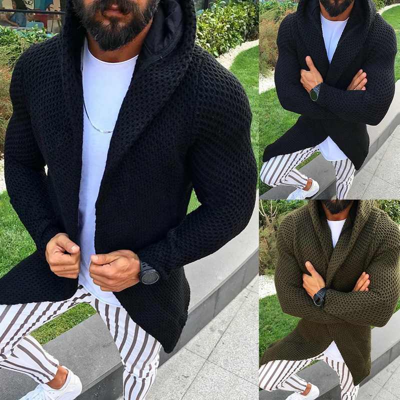 Men Long Sleeve Hooded Sweater Cardigan Male Knitted Sweater Coat With Pocket Winter Autumn Casual Solid Color Cardigan 2019 New