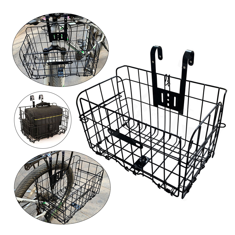 Foldable Wire Mesh Detachable Bicycle Parts Accessories Hanging Front Rear Bike Basket Frame Mountain Bike Bag Bicycle Folding