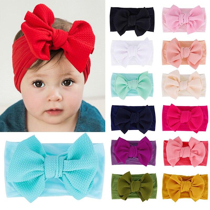 2020 Детские Материал детская шапка аксессуары для ванной комнаты с бантом Младенческая шапочка с однотонным большим вязаная шляпа с бантом ...