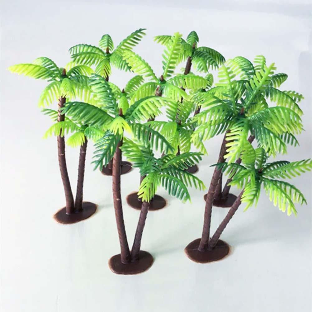 1セットプラスチックココナッツヤシの木ミニチュア植木鉢盆栽クラフトマイクロ風景diy装飾人工椰子装飾ケーキ