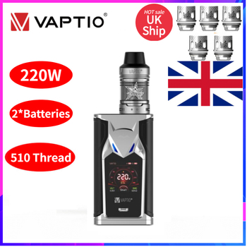 UK SHIPPING!Vaptio super bat KIT E-cigarette Box Mod Kit 220W 2ML Tank Frogman Core Head 510 Mod Without 2*18650 Battery E Cig vaptio capt n mod 220w 510 box mod with gift fusion e vape kit dual 18650 battery box mod electronic cigarette fusion core head
