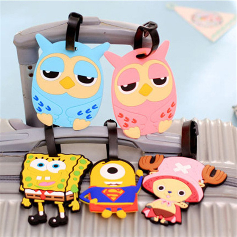 Cartoon Animal Luggage Tag Suitcase Baggage Boarding Tags Silicone Backpack Label Women Men Cute Travel Accessories
