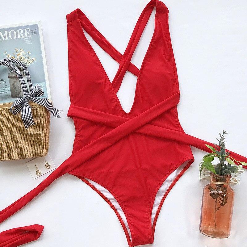 INGAGA 2020 Plunging Swimsuit One Piece High Cut Swimwear Women Cross Bandage Beachwear Summer Backless Bathing Suit Women-4