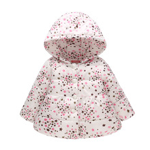 Winter Fashion Warm Cotton Printed Child Long Coat Single Breasted Baby Girls Jackets Children Outerwear For 1-4 Years Old