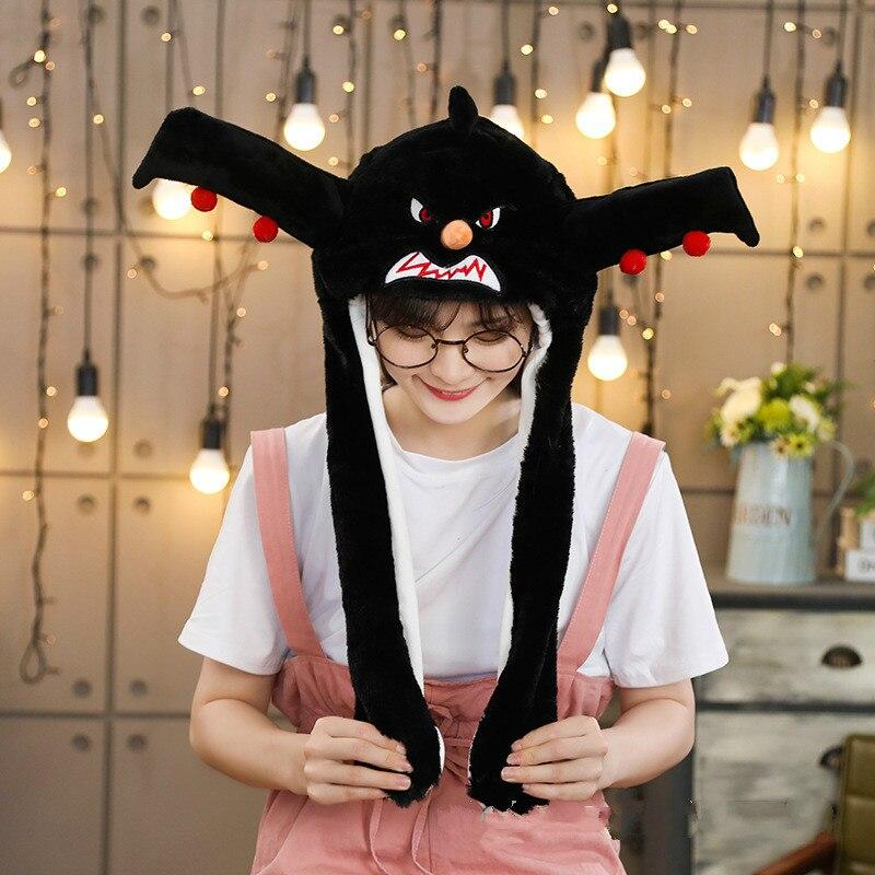 Различные стили милый кролик шляпа с светильник Забавный воздушный поплавок наполнение уха подвижная крышка мультфильм плюшевые игрушки подарки для ребенка - Цвет: Армейский зеленый