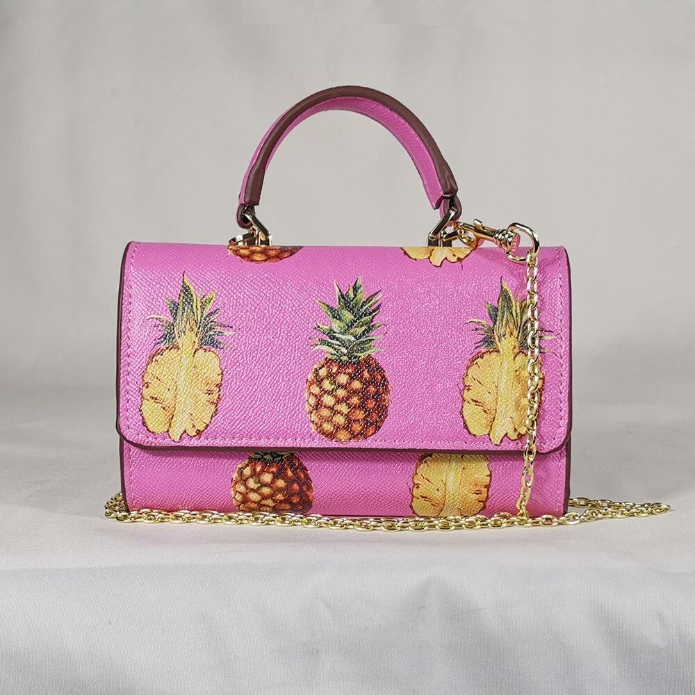 Portable Pineapple Pink Fruit Wild Messenger Bag Messenger Bag Sicilian Flower Chain Mini Handbag Small Mobile Phone Bag