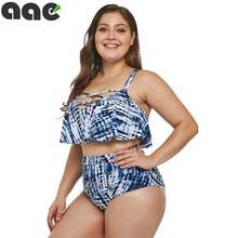 Plus Size Women Swimwear Bikini 2020 Sexy Retro Ruffle Bikini Set Floral Print Tankini Push Up Swimsuit Mujer Bathing Suit 3XL plus size floral print fringed bikini set