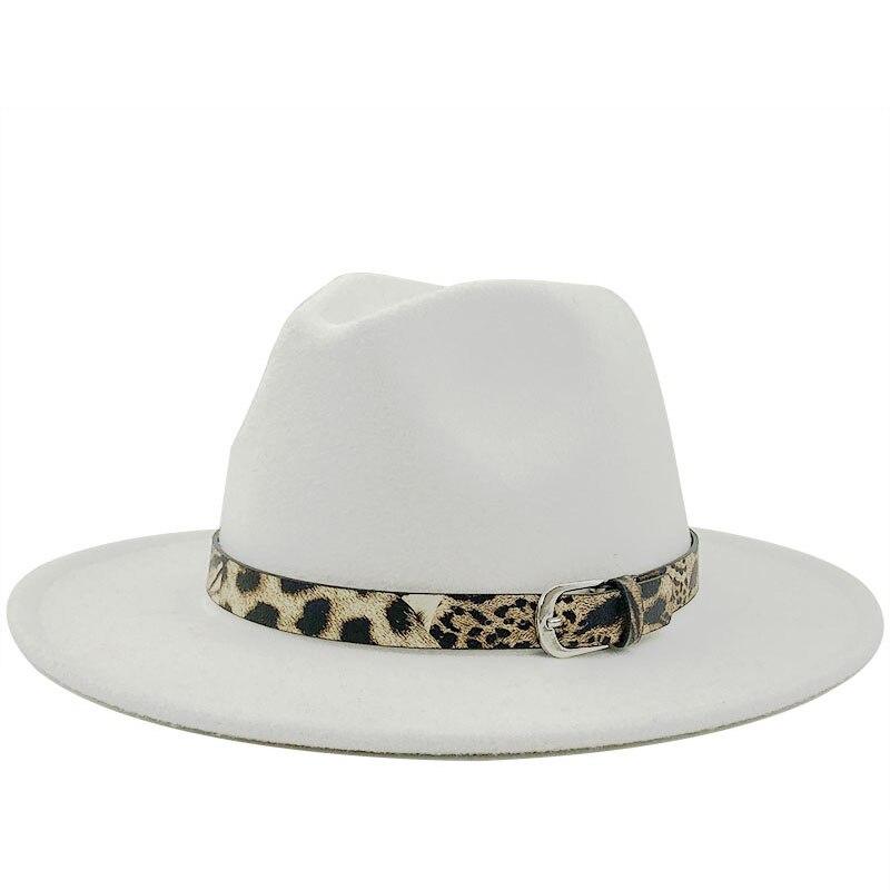 Women Men Wool Fedora Hat with Gentleman Elegant Lady Winter Autumn Wide Brim Jazz Church Panama Sombrero Cap