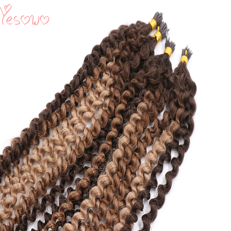 Yesowo Plastic I Tip Keratin Fusion Extensions 1g/strand BM# Ombre Piano Mixed Color Malaysian Kinky Curly Human Hair