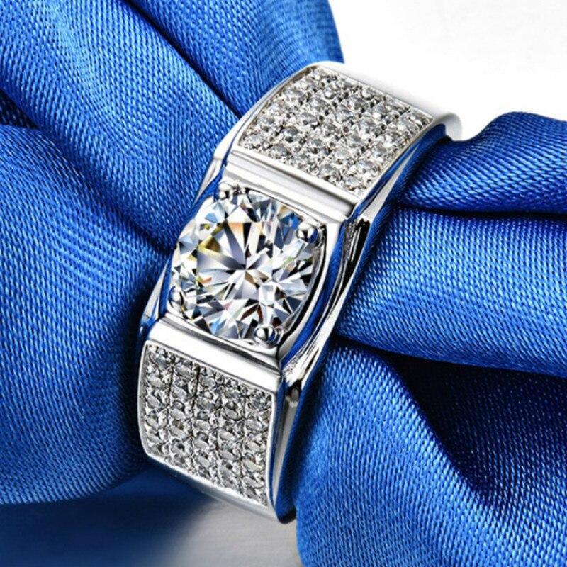 Bagues de luxe pour hommes AAAAA haute qualité NSCD bague de fiançailles S925 en argent Sterling couleur or blanc anneaux