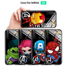Cartoon Marvel Ironman Casing Avengers Cover Tempered Glass Case For Infinix Hot 9 Play 8 7 Note7 S5 Lite S4 Smart 3 Plus Smart4(China)