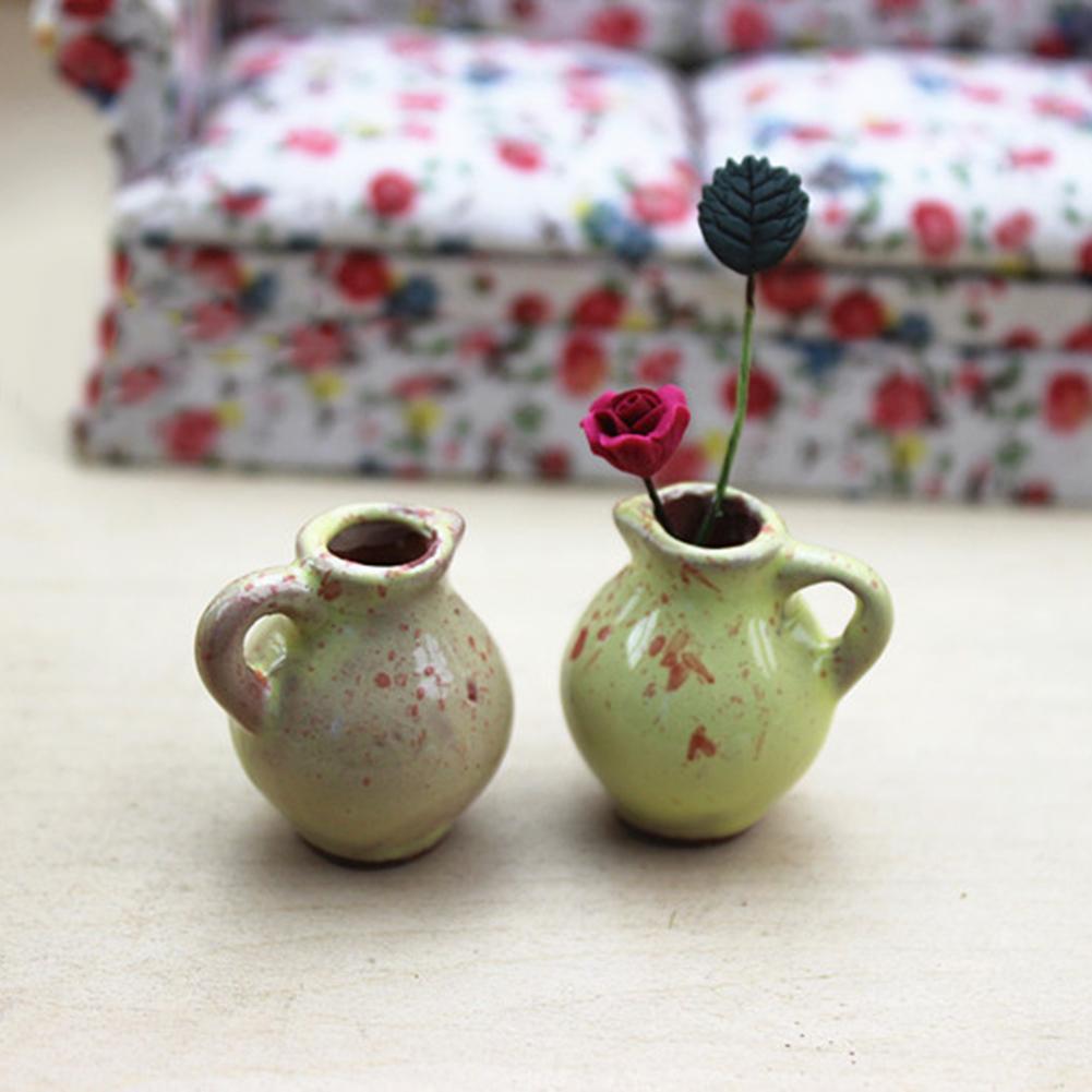 Mini Cute Ceramic Flower Vase Model Toy Dollhouse Miniature Decor Accessory