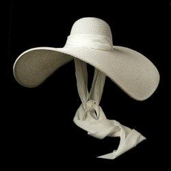 Женская белая шляпа от солнца большого размера 25 см, широкая широкополая шляпа с кантом из мягкой шелковой ленты, Пляжная соломенная шляпа, ...