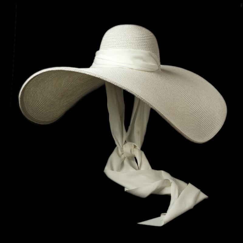 Women White 25cm OVERSIZED Sun Hat Soft Silk Ribbon Tie Wide Brim Floppy Hat Giant Beach Straw Hat Summer Kuntucky Derby Hat Cap
