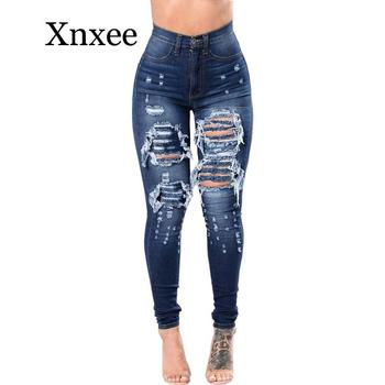 Skinny Jeans Women Denim Pants Holes Destroyed Pencil Casual Trousers push up Stretch Ripped blue boyfriend jeans