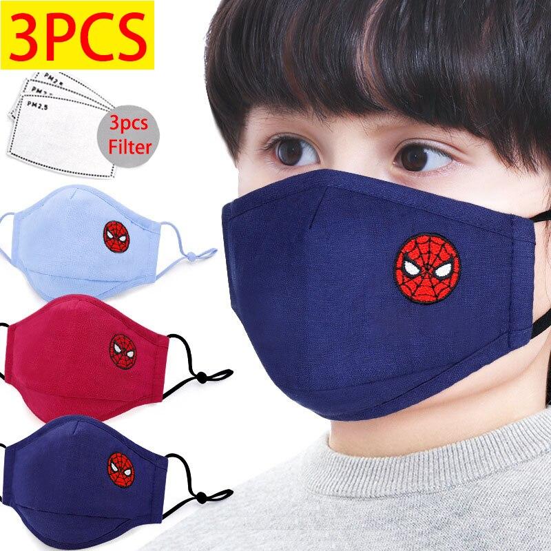 Marvel Spiderman Children's Face Party Maks Marvel Frozen Sponge Anti-Dust Protective Maks For Boys Girls Kids Face 3-12years
