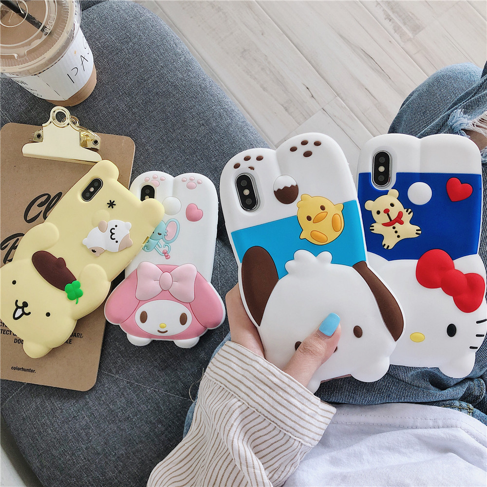 Purin Melody Kitty iPhone Case for iphone 678 Plus X XS XR XSmax 11 Pro Max Cartoon Anime Handmade Lovely 3D Silicone Girls Birthday Gift