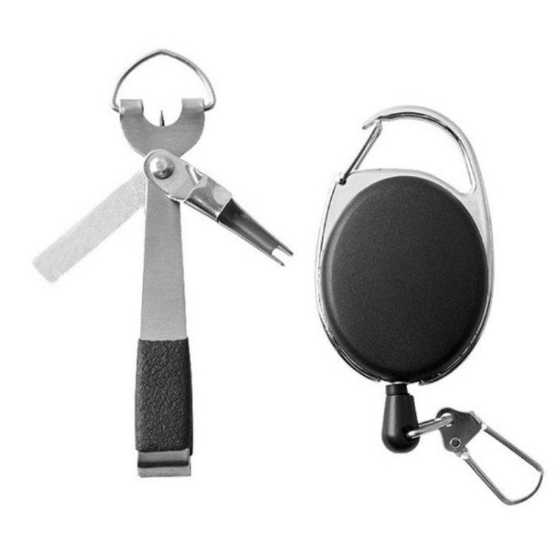 Fishing Line Cutter Clipper Portable Fast Tie Nail Knotter Tying Knot Tool / Retractable Keychain Oval Shape Rope Buckled Clip R