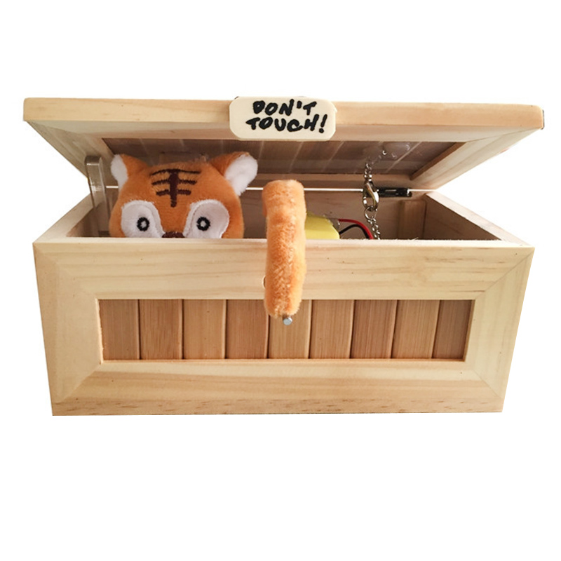 Wooden Useless Box Leave Me Alone Box Most Useless Machine Don't Touch Tiger Toy Gift With Light USB Charging