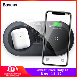 Baseus 2 em 1 qi carregador sem fio para airpods iphone 11 pro xs max xr x 8 15 w rápida almofada de carregamento sem fio para samsung nota 10 s10