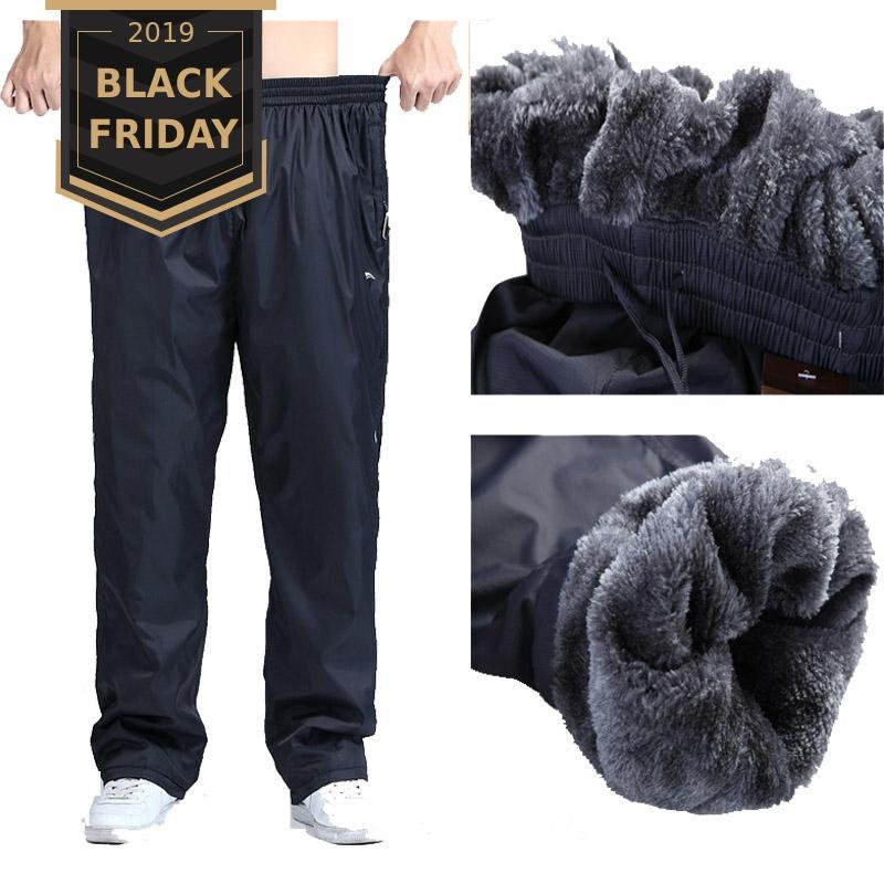 FALIZA Men's Winter Heavyweight Pants Plus Size 6XL Wool Inside Winter Warm Loose Thick Pants Mens Fleece Pants Trousers SM-CK-H