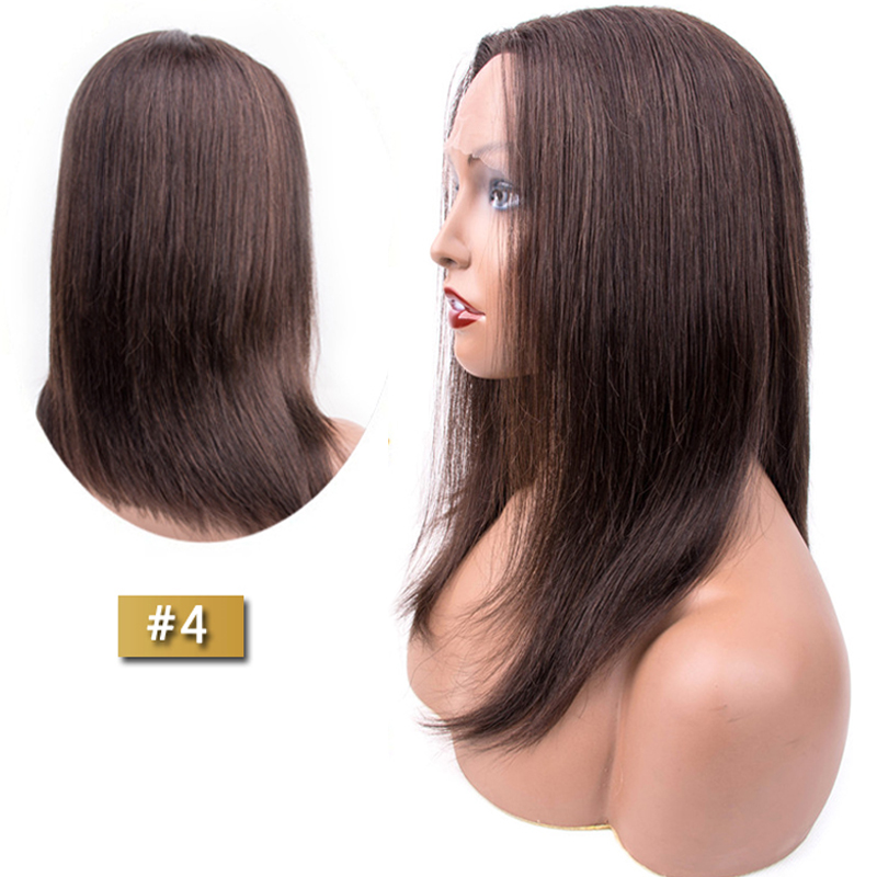 Short Bob Wigs Human Hair Wigs Lace Part Human Hair Wigs Middle Part Light Brown #4 Color Non Remy Wigs 12-16 Inches