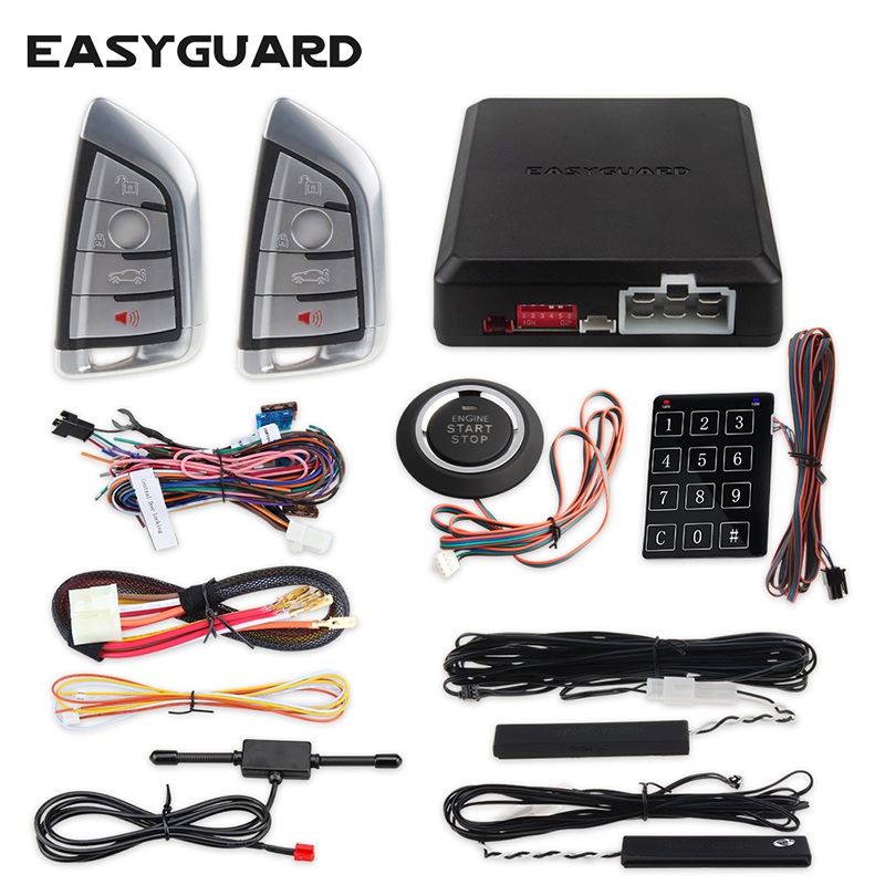 Easyguard Smart Key Keyless Go Car Alarm System Remote Engine Start Push Button Start Touch Password Entry DC12V Security Alram