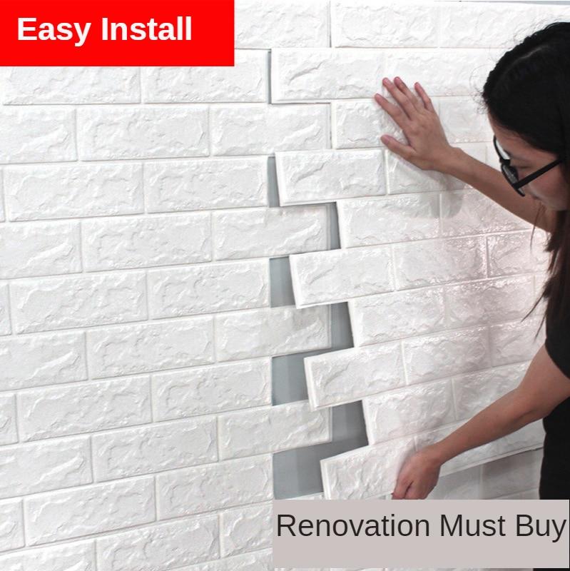 3D Wall Foam Brick Wallpapers Self-Adhesive Wall Sticker Background Wall Decoration Anti-Collision Antifouling Anti-Water Wall