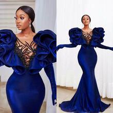 Modest Velvet Mermaid Prom Dresses Plus Size Ruffles Cap Sleeve Elegant Formal Evening Gowns 2021 Vestido De Novia