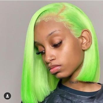 short wig bob wigs 613 pink red blue colored human hair wigs straight brazilian pre plucked glueless swiss hd lace frontal wigs image