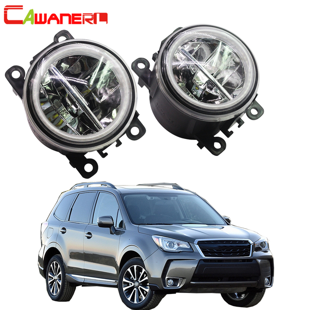 Cawanerl Car LED Fog Light + Angel Eye DRL Daytime Running Light 4000LM 12V For Subaru Forester 2013 2014 2015 2016 2017 2018