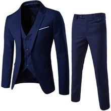 Men's 3 Pieces Black Elegant Suits With Pants Brand Slim Fit Single Button Party Formal Business Dress Suit Male Set#LR2