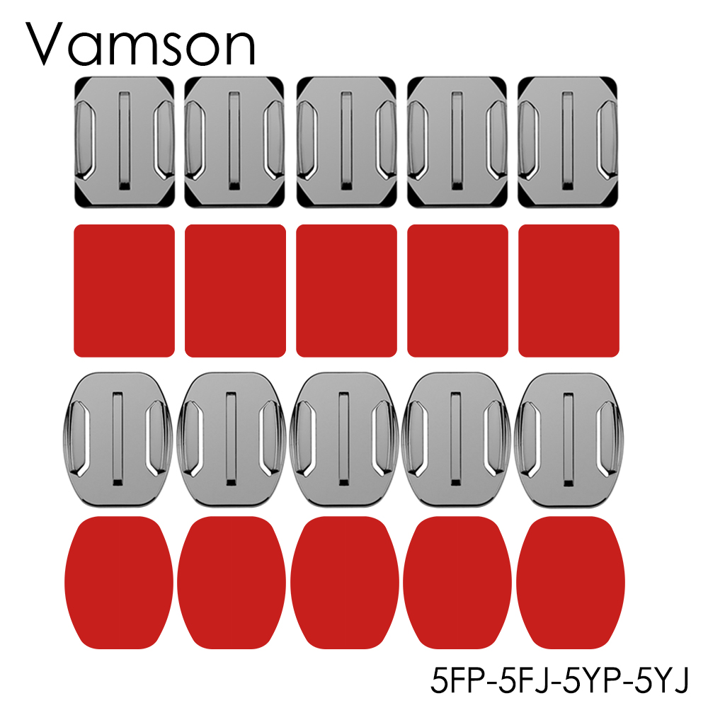 Vamson Adhesive Mounts 3M Sticky For GoPro Hero 7 6 5 4 For DJI OSMO Action Curved Flat Mounts Sticky Pads For Xiaomi Yi VP106