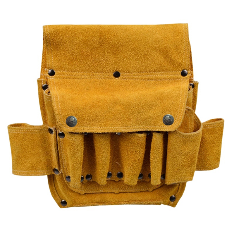 Leather Tool Pouch Home Decoration Electric Woodworking Hardware Tool Waist Bag Thickened Wear Resistant Cowhide Electrical Bag