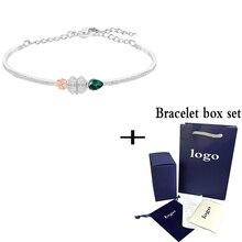 SWA Fashion High Quality Green Water Drop Clover Bracelet El