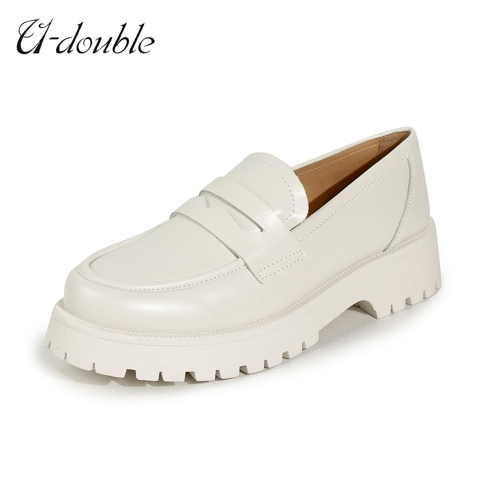 U-DOUBLE дамские весенние туфли Британский Стиль 2021 новые толстые сапоги на толстой подошве в студенческом стиле повседневные лоферы из натура...
