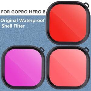 Image 2 - Oryginalna wodoodporna obudowa filtr ochronny Shell fioletowy różowy czerwony filtry do Gopro Hero 8 czarny akcesoria do kamer akcji
