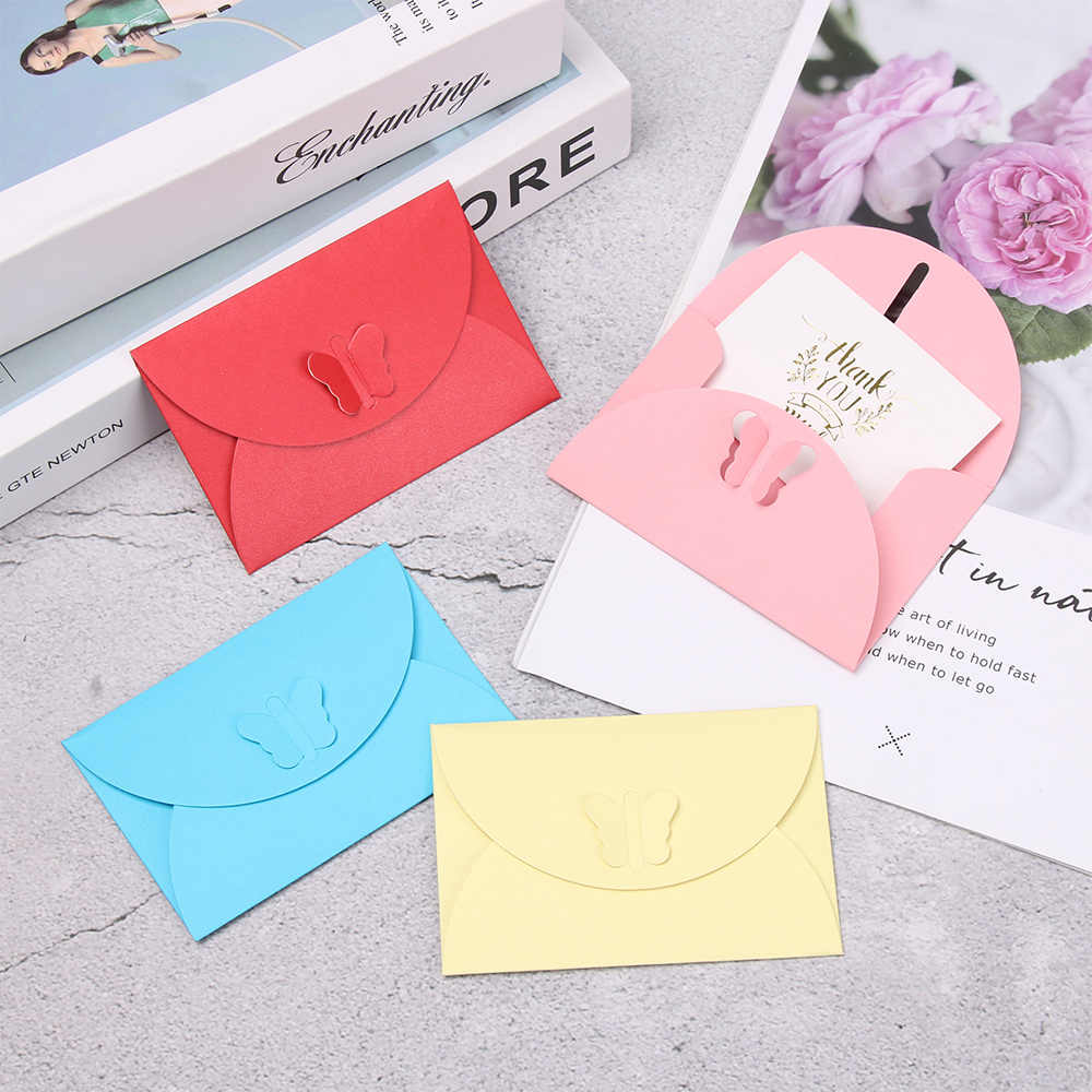 5 Pcs Envelope Bag Kraft Paper Mini Color Butterfly Buckle Pearl Paper Membership Card Customizable Stationery School Supplies
