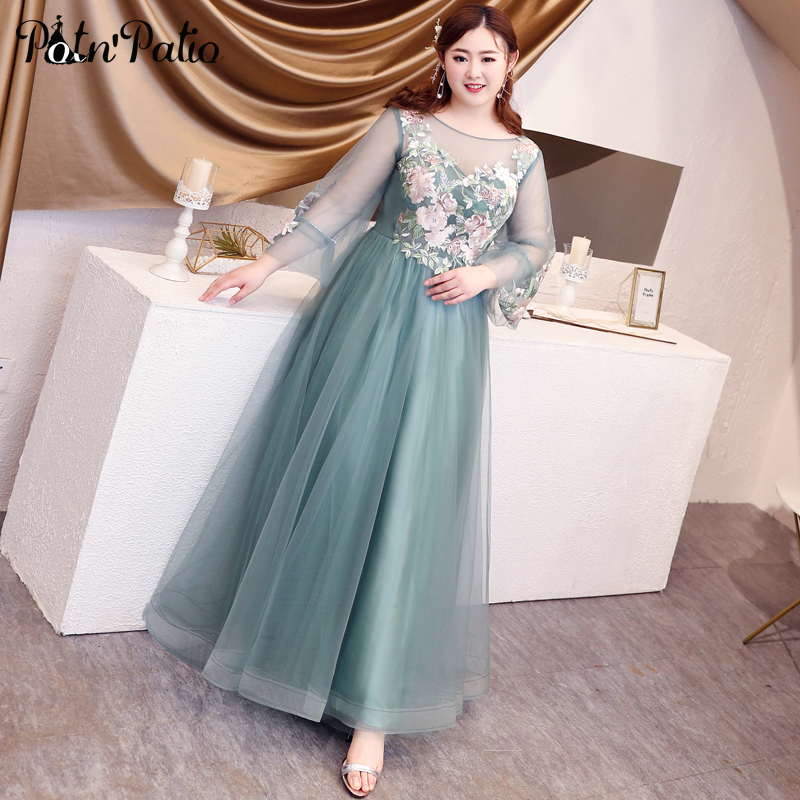 Light Green Tulle Long Evening Gowns Plus Size Luxury Appliques Elegant Scoop Neck Floor-length Long Sleeves Formal Dresses 2019