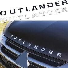 Metal outlander letras logotipo etiqueta do carro tuning para mitsubishi cabeça dianteira capô decoração distintivo placa de identificação decalque acessórios