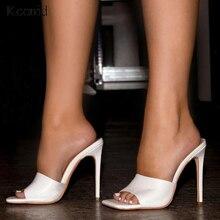 Kcenid 2020 女性のスリッパ夏新靴女性のスリップサンダルスクエアトゥスライドハイヒールパンプス白サイズ 41 42