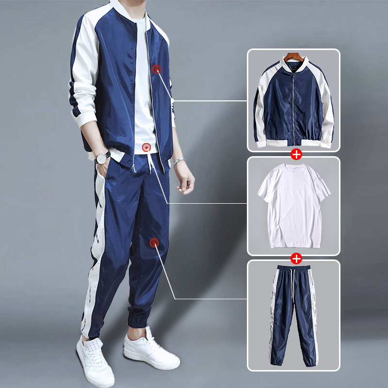 Zogaa 2019 New Spring Autumn Men's Set Korean Casual Jacket Suit 3 Pcs Men's Baseball Clothes Coat + Sweatpants + White T-Shirt