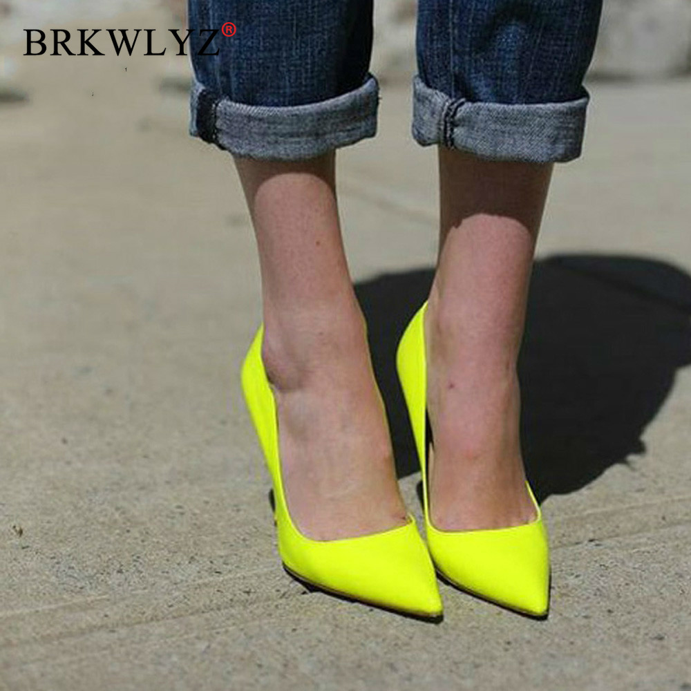 Brand Shoes 10 12CM Heels Women Shoes Pumps Stiletto Neon Yellow Sexy Party High Heels Shoes Big Size 10 11 12