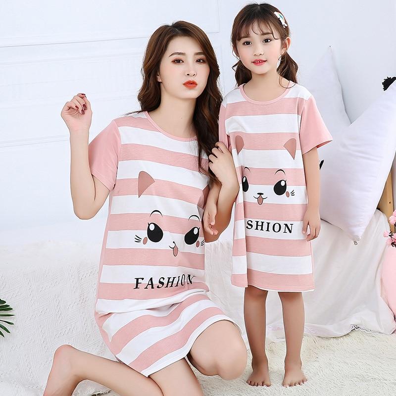 New Women's Nightdress Nightgowns Cartoon Sexy Sleepwear O-neck Causal Nightwear Summer Sleepshirts Short-sleeve Sleep & Lounge