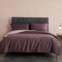 Reversível com cinza rosa capa de edredão botão macio sedoso algodão egípcio conjunto cama folha 2 fronhas rainha rei tamanho 3/4 pçs