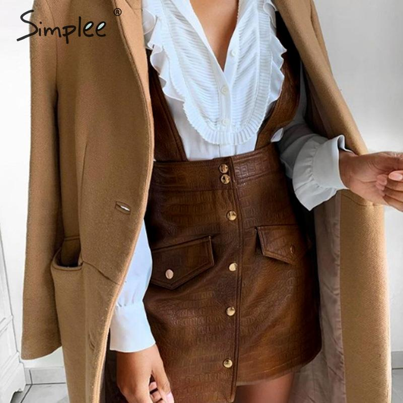 Simplee Women Faux Leather Dress Streetwear PU Soft Animal Print Overalls Autumn Dress Overalls High Waist Lady Strap Mini Dress