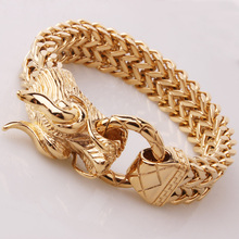 Cool Gold Tone Stainless Steel Dragon Bracelets For Men New Arrival Fashion Bangle Mens Biker Jewelry