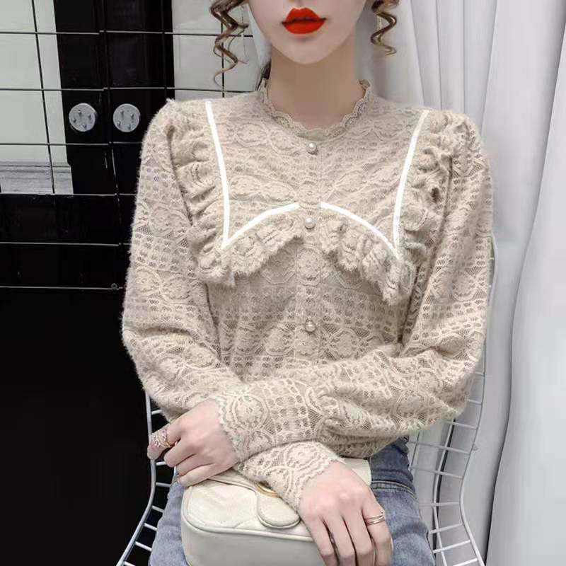 Women Spring Autumn Style Lace Blouses Shirts Lady Casual Long Sleeve Peter Pan Collar Lace Blusas Tops DF4013 7