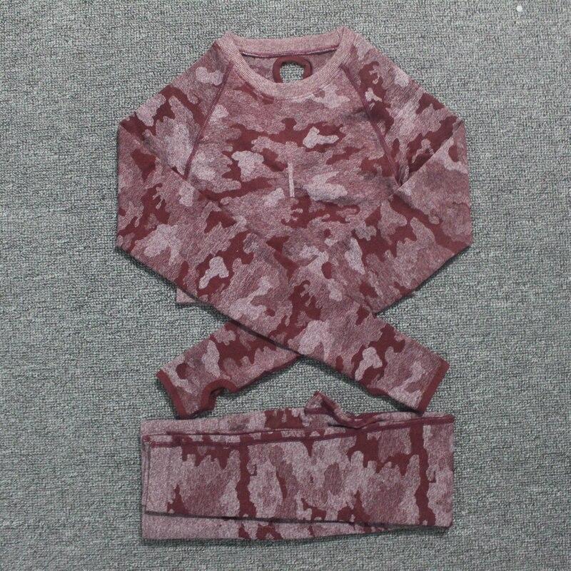 Camouflage Set 2PCS Women Sport Suit Yoga Set Gym Workout Clothes Long Sleeve Fitness Crop Top High Waist Seamless Camo Leggings