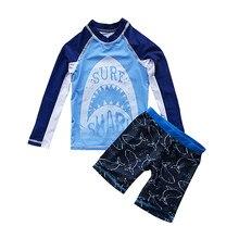 Maiô menino duas peças terno crianças upf50 uv proteger tubarão impressão roupa de banho 2-10 ano criança legal dos desenhos animados maiô beachwear